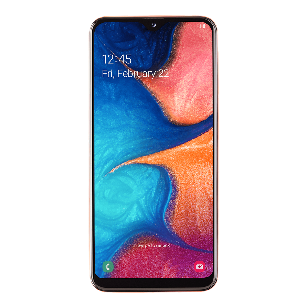 samsung-galaxy-a20e-orange-32go-face