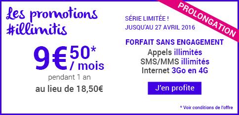 Forfait sans engagement à 9,50€ au lieu de 18,50€