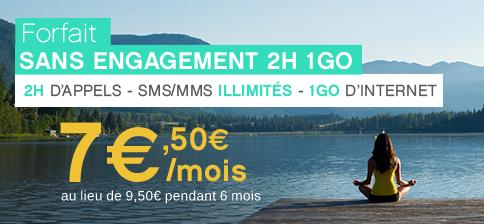 Forfait sans engagement à 2,50€ au lieu de 3,50€