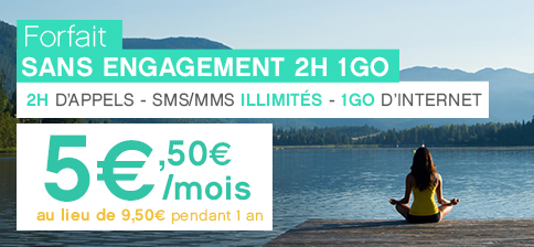 Forfait sans engagement à 5,50€ au lieu de 9,50€