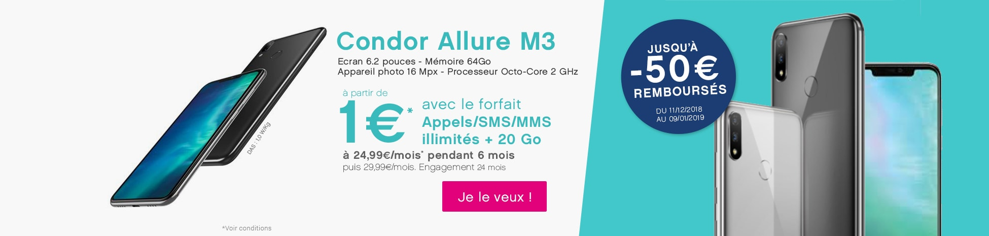 Condor Allure M3 à 1€ avec un forfait idéal smartphone 20Go à 24.99€ par mois pendant 24 mois